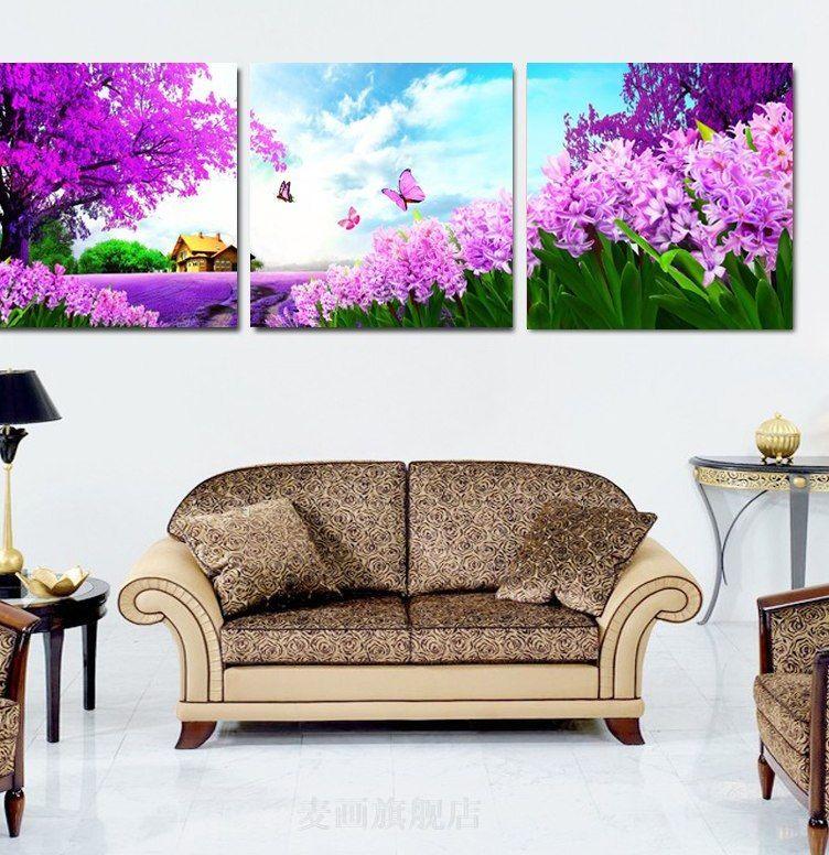 Konsep Hiasan Dalaman Rumah Terbaik ᗖlukisan Kanvas Gambar Kupu Kupu Lavender Taman Dinding Berskala