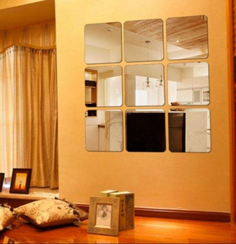 Persegi Cermin Mosaik Ubin Dinding Stiker 3D Decal Rumah Dekorasi Kamar DIY Untuk Ruang Tamu Teras 6 pcs