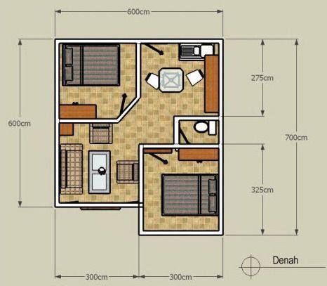 denah minimalis 1 lantai tipe 36 sederhana 2 kamar tidur Apartment Layout e Bedroom