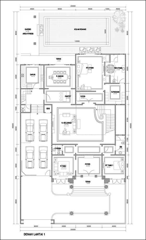 Contoh Denah Rumah Mewah 2 Lantai Home Symbol Design Rumah House Layouts Dena