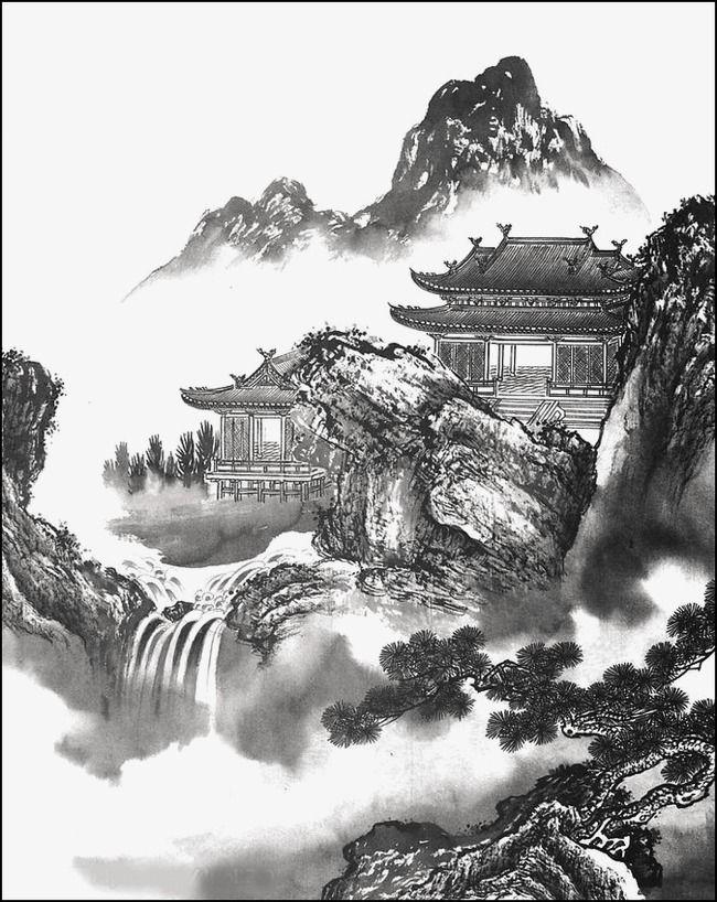 Lukisan Pelan Landskap Halaman Rumah Meletup Lukisan Pemandangan Biru Dakwat Lukisan Pemandangan Lanskap Lukisan