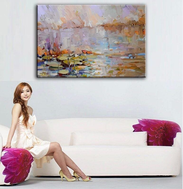 Dekorasi Rumah Lukisan Minyak Tangan Lukis Tinggi Kualitas Pisau Landskap Lukisan Gambar DM