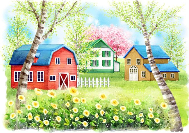 Lukisan tangan berirama ilustrasi Merah Rumah Hutan Rumput