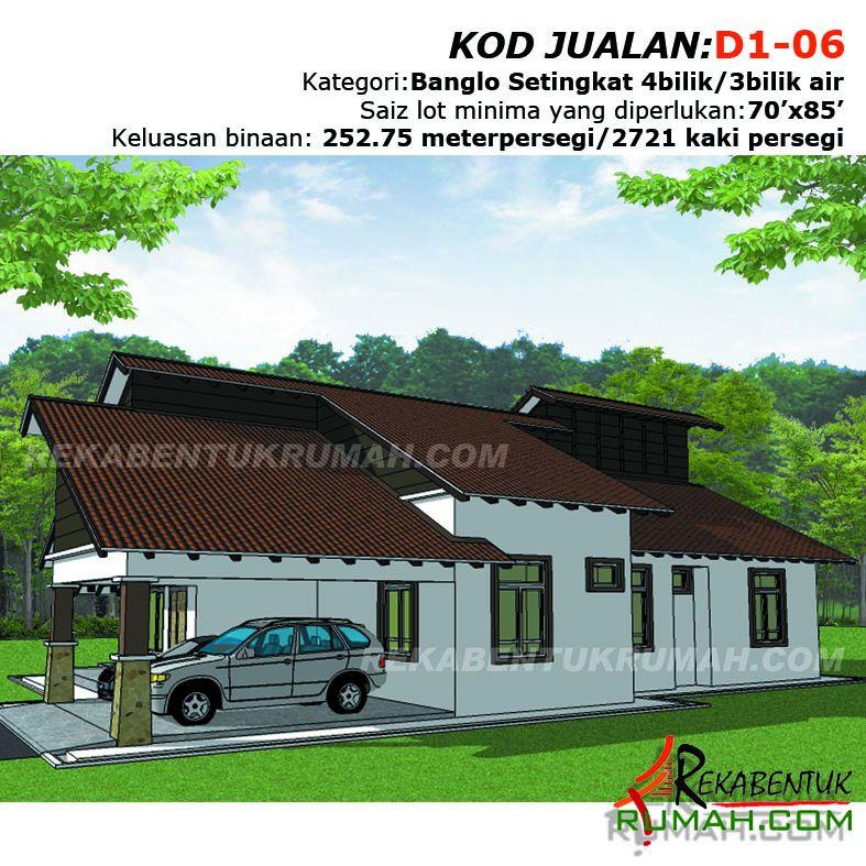 Lukisan Pelan Rumah Banglo Setingkat Menarik Design Rumah D106 4b 3ba 49 X64 2721 Kaki Persegi Rekabentuk