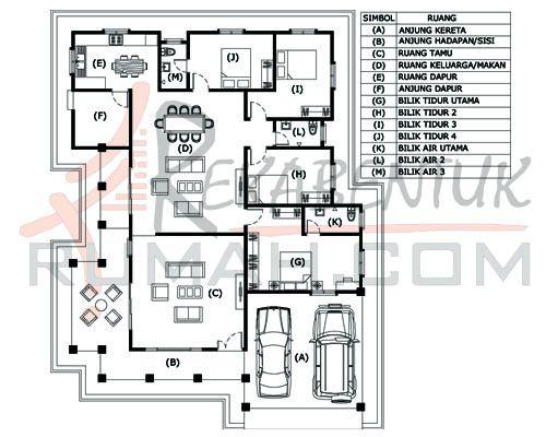 Lukisan Pelan Rumah Banglo Setingkat Terbaik Design Rumah D106 4b 3ba 49 X64 2721 Kaki Persegi Rekabentuk