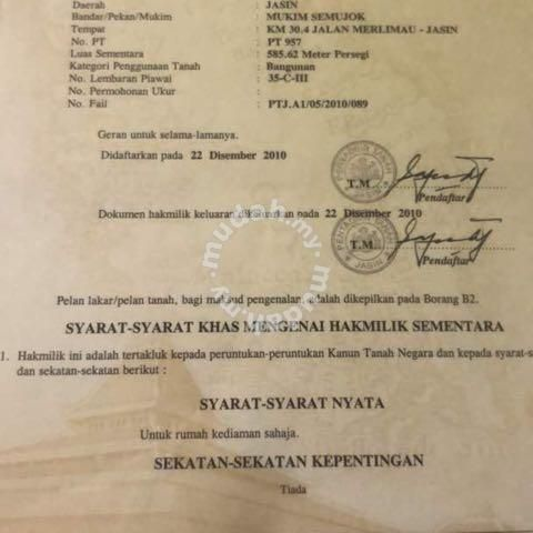 Pelan Bentangan Rumah Bernilai Tanah Untuk Dijual Semujok Melaka Land for Sale In Jasin Melaka