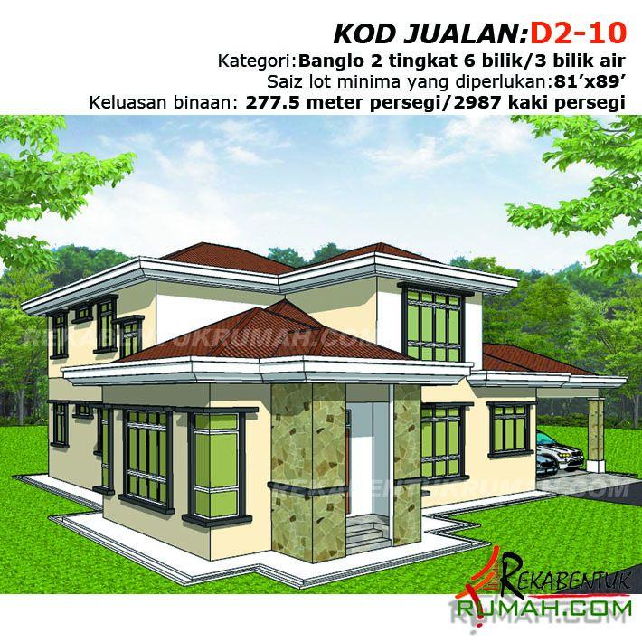 Pelan Lantai Rumah Banglo 4 Bilik Berguna Design Rumah D2 10 6 Bilik 3 Bilik Air 64 X59 2987 Kaki