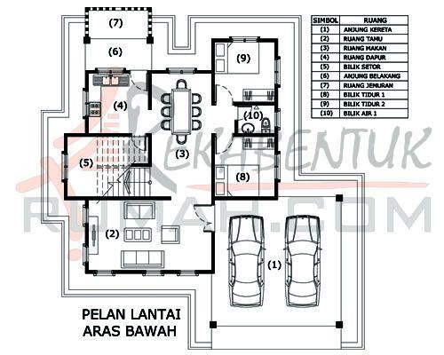 Pelan Lantai Rumah Banglo Dua Tingkat Berguna Design Rumah 6 Bilik Archives Rekabentuk
