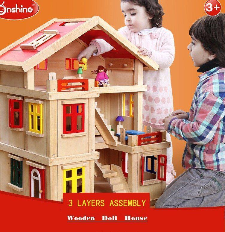 Pelan Lantai Rumah Kayu Berguna ᑎ‰onshine Boneka Dengan Furnitur Buatan Tangan Kayu Diy