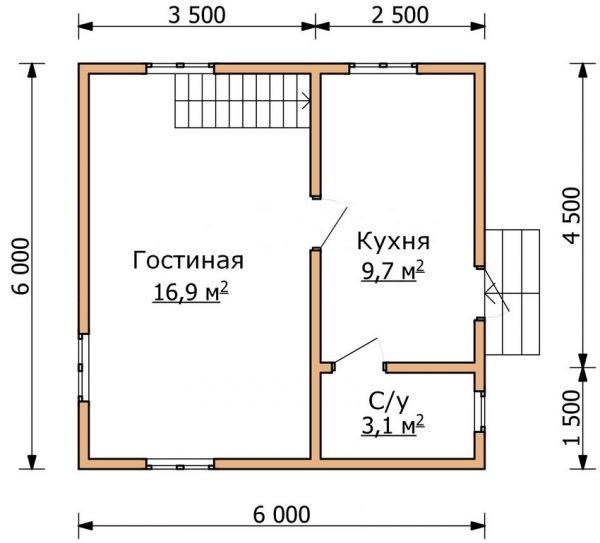 Rancangan lantai pertama dua tingkat 6 pada 6 m
