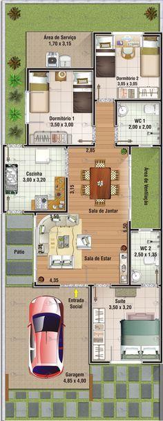 Projeto de casa 3 dormit³rios sendo 1 sute Garagem 19 40 m² de área acesso lateral para a cozinha Sala de estar e jantar conjugadas