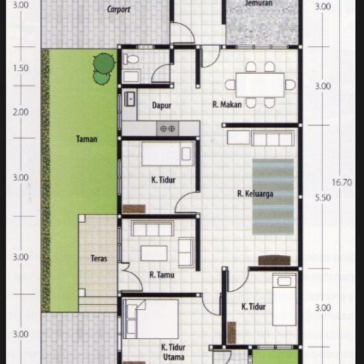 Pelan Lantai Rumah Setingkat Penting Denah 3 Kamar Ukuran 6×12
