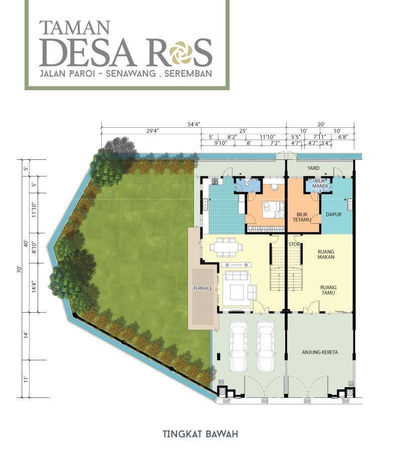 Pelan Lantai Rumah Teres 2 Tingkat Meletup Desa Ros Rumah Teres 2 Tingkat Jenis B Senawang Seremban Mega 3