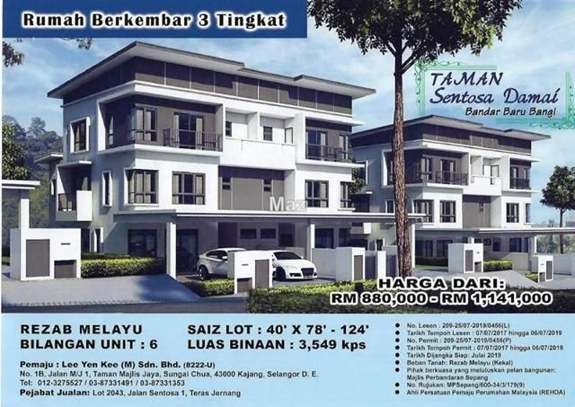 Pelan Lot Rumah Terhebat Teras Jernang Bangi Semi Detached House 6 Bedrooms for Sale