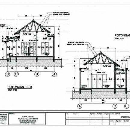Desain Rumah Type 54 60 Potongan