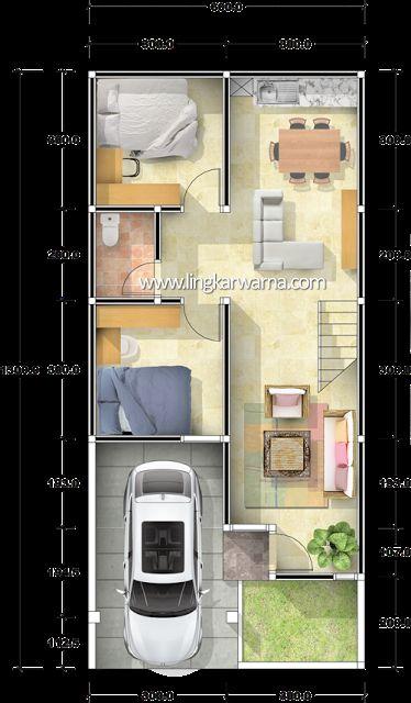 Denah dua lantai dengan luas lahan 78m2 Luas bangunan total type 127m2 Ukuran tanah 6m