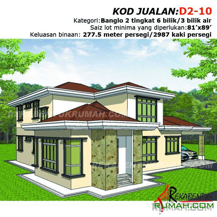 Pelan Rumah 1 Tingkat 5 Bilik Bermanfaat Design Rumah D2 10 6 Bilik 3 Bilik Air 64 X59 2987 Kaki
