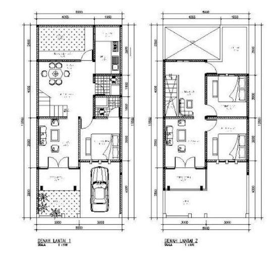 Pelan Rumah 2 Tingkat Moden Menarik Denah Minimalis 2 Lantai Type 120