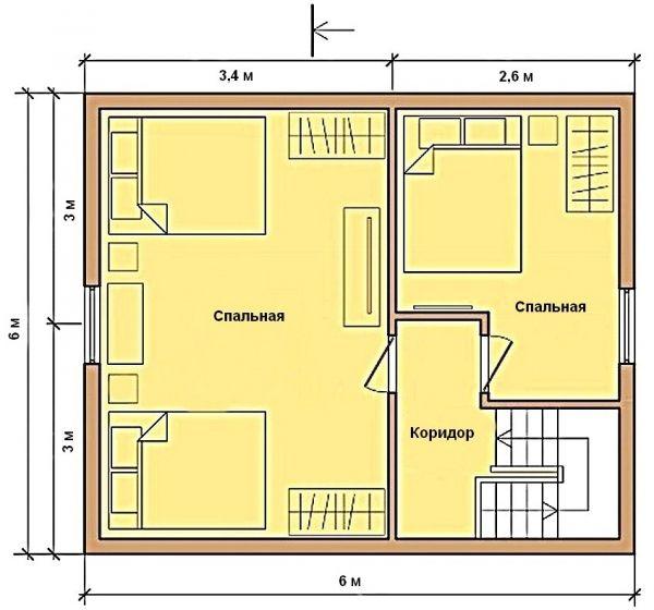 Contoh pelan tingkat dua 6 hingga 6 m