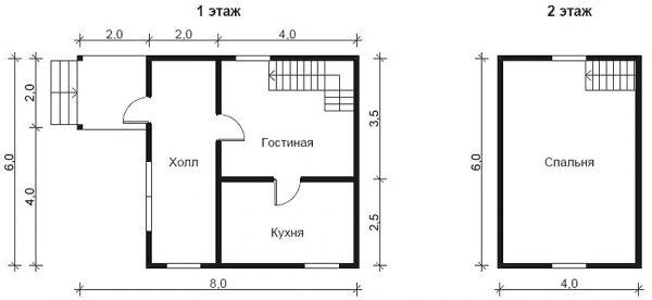 Pelan padat dengan bilik tidur besar di tingkat dua
