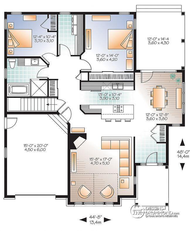 Plan de Rez de chaussée Plain pied de style transitionnel 2 chambres