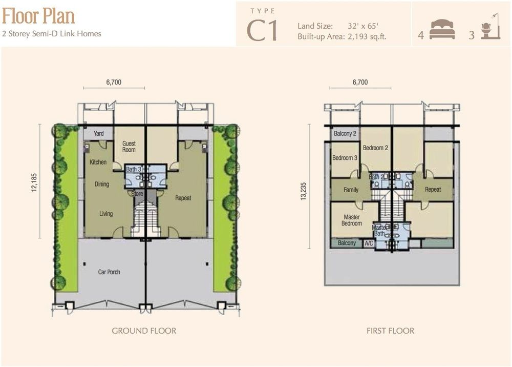 M Residence 2 Caspia Type C1 Floor Plan