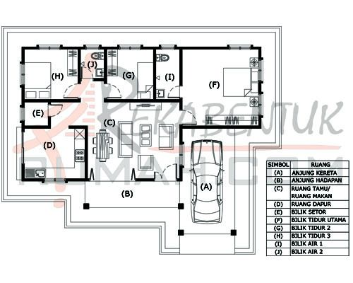Pelan Rumah 3 Bilik Meletup Design Rumah B1 32 3 Bilik 2 Bilik Air 45 X35 1226 Kaki