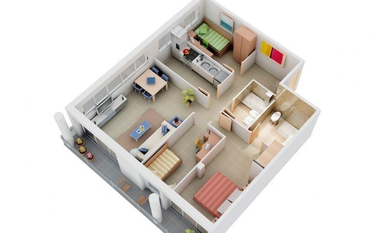 Pelan Rumah 3 Bilik Power 50 Inspirasi Desain Apartemen Tiga Kamar