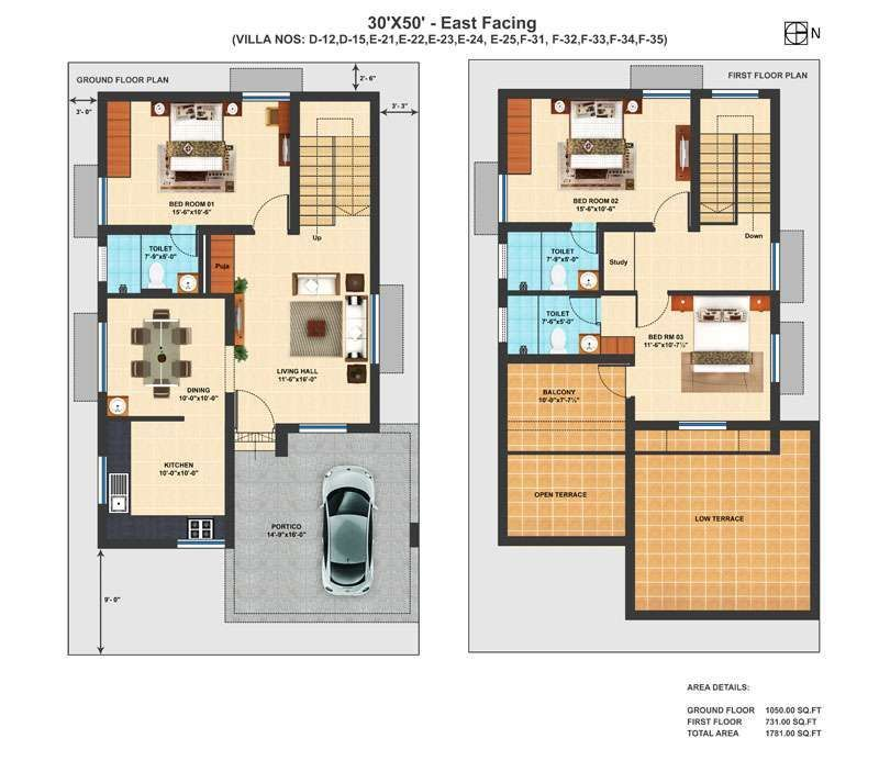 Pelan Rumah 30×50 Bermanfaat Precious 11 Duplex House Plans for 30×50 Site East Facing north