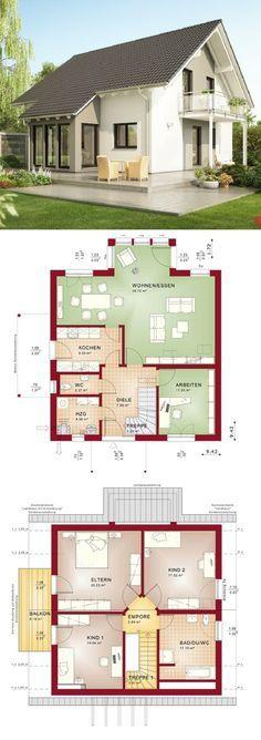 Einfamilienhaus Neubau modern mit Satteldach Architektur & Wintergarten Erker Haus bauen Grundriss Fertighaus Evolution 143 V4 Bien Zenker Hausbau Ideen