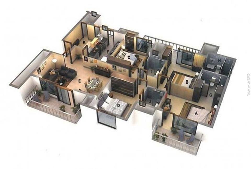 Pelan Rumah 3d 3 Bilik Power Examples Of 3d Plans for Apartments and Houses Shramev
