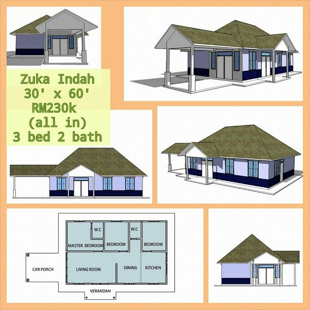 Pelan Rumah 4 Bilik 30 X 40 Bermanfaat Banglo Mampu Milik Rm200k Kebawah
