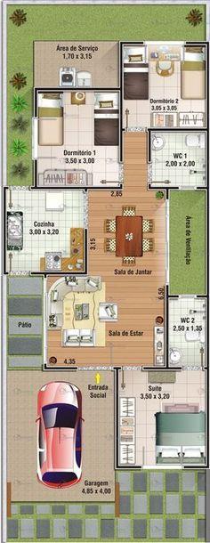Projeto de casa 3 dormit³rios sendo 1 sute Garagem 19