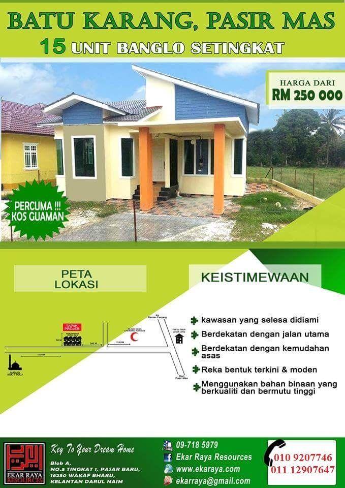 Pelan Rumah 4 Bilik Setingkat Bernilai Rumah Banglo Untuk Di Jual Batu Karang Pasir Mas Lokasi