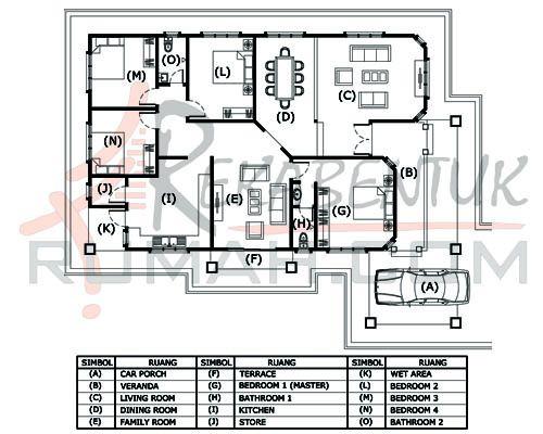 DESIGN RUMAH D1 19 4b 2ba 48 x60′ – 2232 kaki persegi