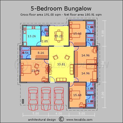 Pelan Rumah 5 Bilik Power House Floor Plans 50 400 Sqm Designed by Teoalida