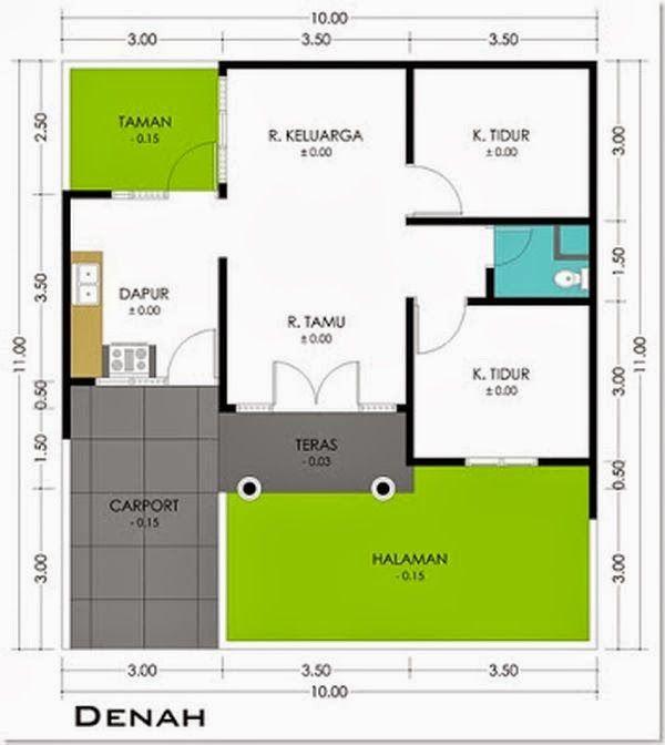 Tipe 36 biasanya mempunyai 2 kamar tidur 1 ruang tamu dan ruang keluarga serta 1 kamar mandi