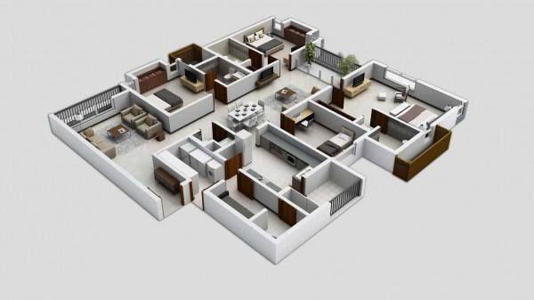 Pelan Rumah 8 Bilik Bernilai 30 Pelan Rumah Banglo Setingkat 4 Bilik Moden Minimalis