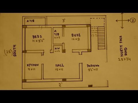 3bhk 30 — 40 East face house plan map naksha