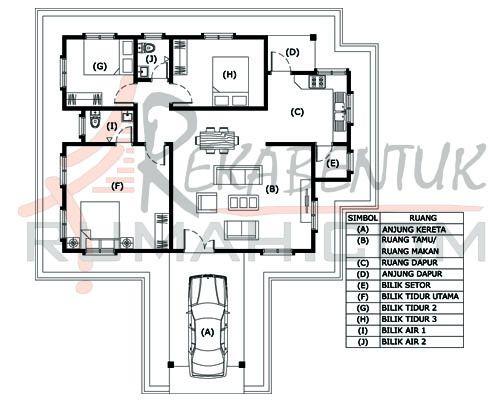 Pelan Rumah Banglo Moden Kontemporari Power Design Rumah B1 03 3 Bilik 2 Bilik Air 40 X46 1232 Kaki