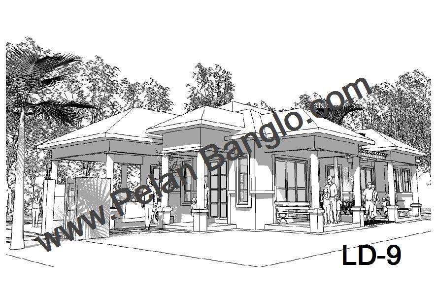 Pelan Rumah Banglo Moden Tropika Menarik Pelan Rumah Banglo Ld 9 4 Bilik Setingkat