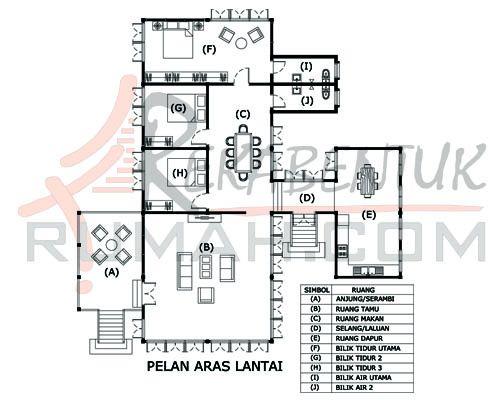 Pelan Rumah Banglo Setingkat 8 Bilik Terbaik Design Rumah C1 02 3 Bilik 2 Bilik Air 57 X57 1959 Kaki