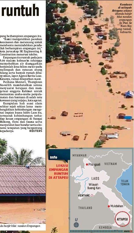 Pelan Rumah Banjir Meletup Pressreader Berita Harian 2018 07 25 Empangan Laos Runtuh