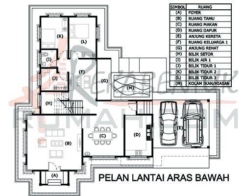 DESIGN RUMAH D2 15 6 bilik 3 bilik air 64 x59′ – 2987 kaki persegi