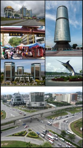 From top right clockwise Tun Mustapha Tower Swordfish Statue Wawasan intersection Wisma