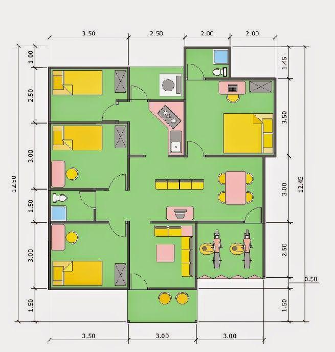 Pelan Rumah Bertingkat Terhebat Denah Rumah Favorit Denah Minimalis Home Sweet Home Pinterest