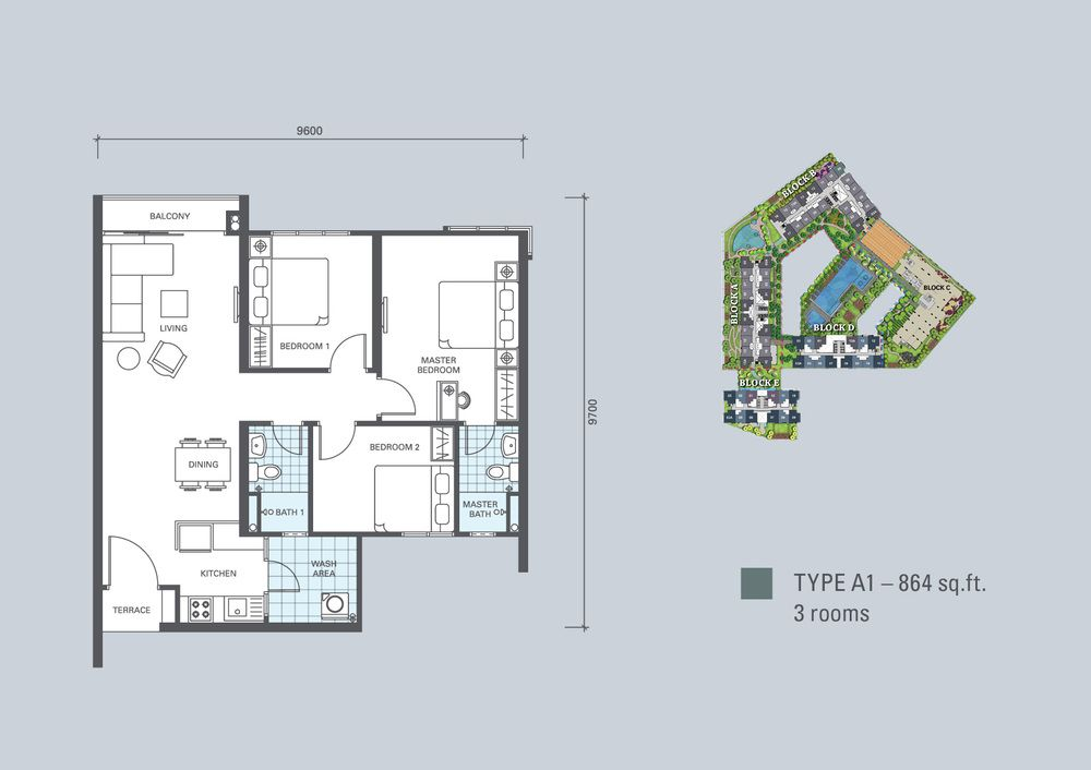 KL Traders Square Type A1 Floor Plan