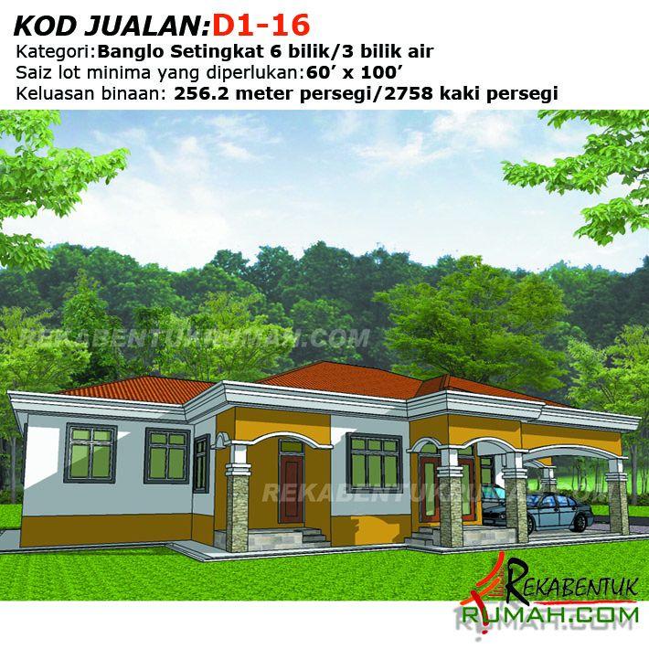 Pelan Rumah Bungalow Setingkat Bernilai Design Rumah D1 16 6b 3ba 45 X77 2758 Kaki Persegi
