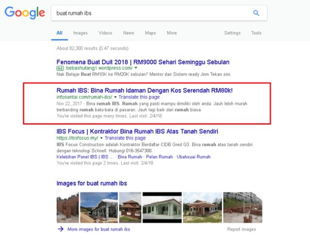 keputusan google search untuk buat ibs