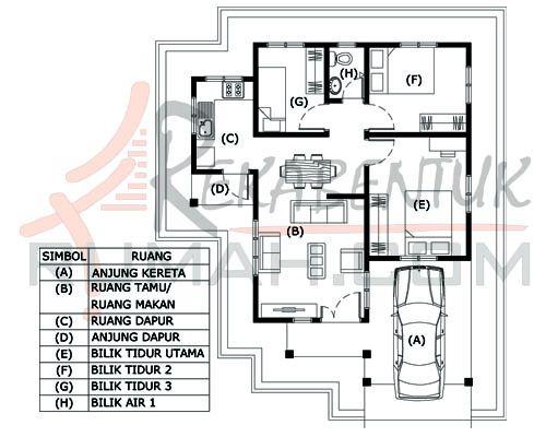 Pelan Rumah Idaman 1 Tingkat Baik Design Rumah A1 09 3 Bilik 1 Bilik Air 29 X36 848 Kaki Persegi
